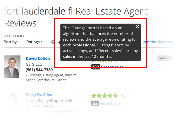 """The """"Ratings"""" sort is based on an algorithm that balances the number of reviews and the average review rating for each professional."""